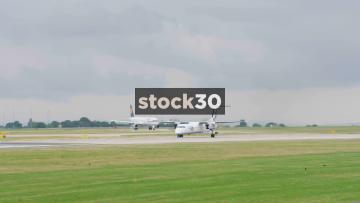 Flybe Bombardier Dash 8 Q400 Taking Off At Manchester Airport, UK