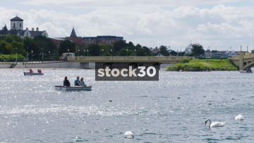 Motor Boats On Marine Lake In Southport, UK