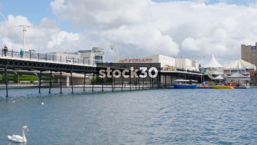 View Of Silcocks Funland And Pier Over Marine Lake In Southport, UK