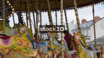 Close Up Of Horses On Fairground Carousel In Southport, UK