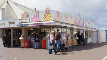 Popcorn, Candy Floss And Donut Stall In Southport, UK