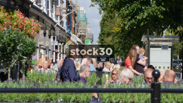 People Eating And Drinking At Outdoor Cafe On Lord Street In Southport, UK