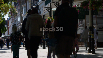 Pedestrians Passing Victorian Shopping Arcade On Lord Street In Southport, UK