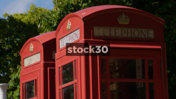 Two Classic Red British Telephone Boxes, UK