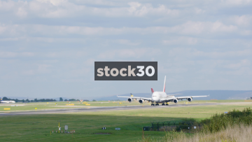 Emirates Airbus A380 Taking Off From Manchester Airport, UK