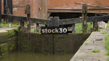 Old Lock Gate On The Rochdale Canal By Canal Street In Manchester, UK