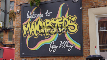 Welcome To Manchester's Gay Village Sign On Canal Street In Manchester, UK