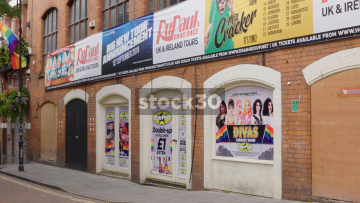 Canal Street In Manchester With Billboards For Drag Show And Rainbow Flags, UK