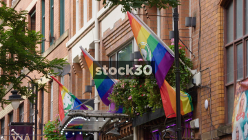 Rainbow Flags In Gay Village On Canal Street In Manchester, UK