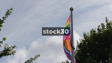 Slow Motion Shot Of The Rainbow Flag For Gay And LGBT Pride