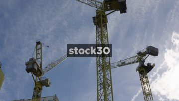 Timelapse Shot Of Cranes Operating In Manchester, UK