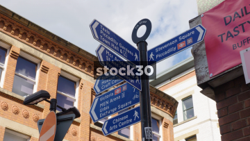Pedestrian Directions Signs On Tib Street In The Northern Quarter, Manchester, UK