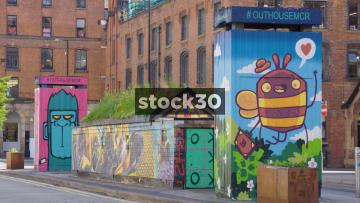 Graffiti Artwork On Hilton Street In Manchester's Northern Quarter, UK