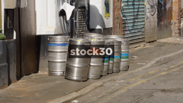 Beer Kegs And Corner Cocktail Club On Spear Street In Northern Quarter, Manchester, UK
