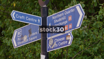 Pedestrian Directions Signs On Thomas Street In The Northern Quarter, Manchester, UK
