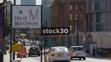 City Of Manchester Sign With Passing Metrolink Tram, UK