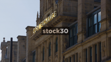 The Corn Exchange In Manchester, Close Up On Sign And Wide Shot, UK