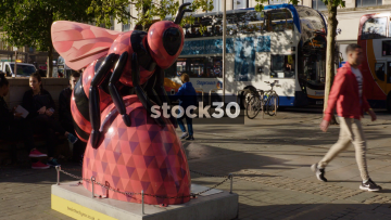 Bee In The City Sculpture At Piccadilly Gardens In Manchester, UK