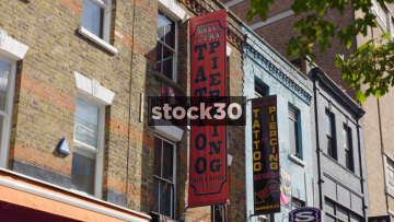 Tattoo & Piercing Signage On Camden High Street, 3 Shots, UK