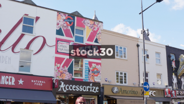 Artwork On Building On Camden High Street, 3 Shots, UK