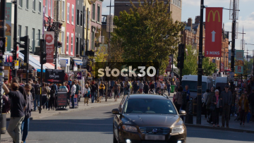 Slow Motion Shot Of Busy Camden High Street, UK