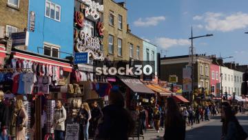 Camden High Street Stalls & Piercing And Tattoo Shops, UK