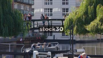 View Of Regent's Canal And Footbridge In Camden, UK