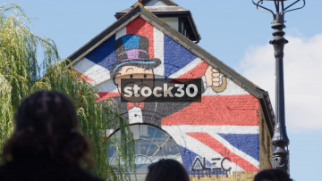 Union Jack Monopoly Artwork On Building Off Camden High Street, UK
