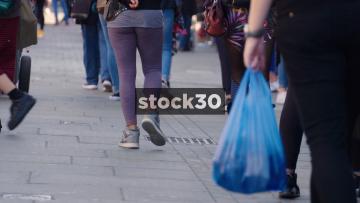 Slow Motion Shot Of Shoppers Feet On Camden High Street, UK