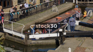 Canal Boat In Regent's Canal in Camden, UK