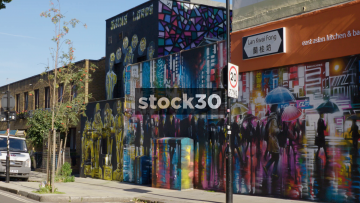 Graffiti Artwork On Hartland Road In Camden, UK