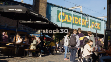 Camden Market With Camden Lock Railway Bridge In Background, UK