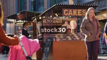 Cakes And Toasties Stalls On Camden Market, UK