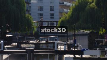 Regent's Canal and Footbridge In Camden, UK