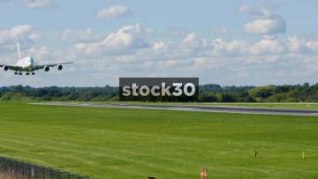 Emirates Airbus A380-861 Landing At Manchester Airport, UK
