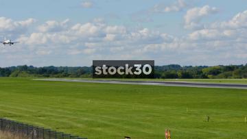 Austrian Airlines Embraer ERJ-195LR Landing At Manchester Airport, UK