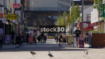 Slow Motion Shot Of Prince's Street In Stockport, UK