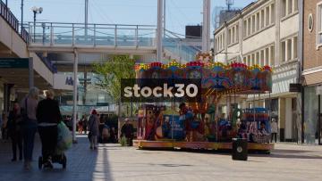 Children's Carousel In Stockport Town Centre, UK