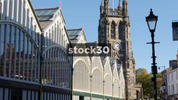 Market Hall And St.Mary's Parish Church In Stockport, UK