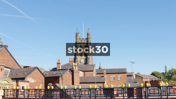 Zoom In To St.Mary's Parish Church In Stockport, UK