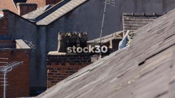 Vintage Chimney Pots On The Rooftops Of Stockport, UK