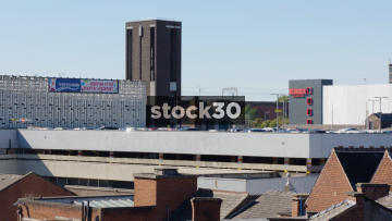 The Rooftops Of Stockport With Train Passing By In Background, UK