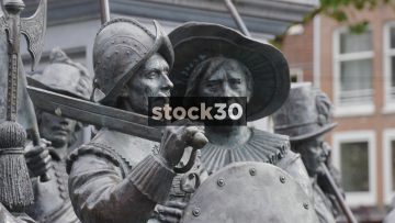 Sculptures Of The Night Watch At The Rembrandtplein In Amsterdam, Netherlands