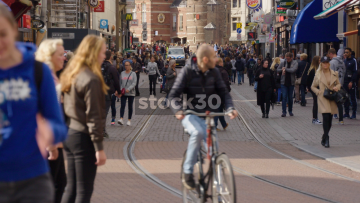 View Down Busy Rembrandtplein In Amsterdam, Netherlands