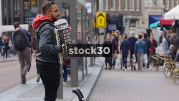 Busker Playing Accordion On Rembrandtplein In Amsterdam, Netherlands