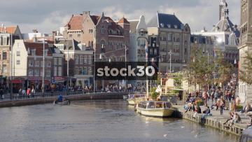 Wide Shot Of The Amstel River In Amsterdam, Netherlands