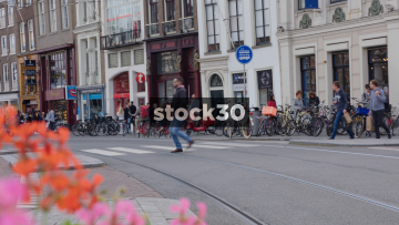 Tram Passing By Close To Camera On Rokin In Amsterdam, Netherlands