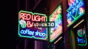 Red Light Bar & Coffee Shop In Amsterdam, Netherlands