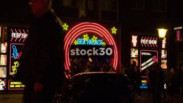Various Crash Zooms Of The Sex Palace Peep Show In Amsterdam, Netherlands