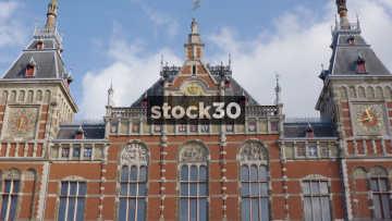Timelapse Shot Of Clouds Passing Amsterdam Centraal Railway Station, Netherlands